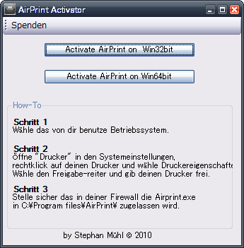 airprint activator for windows 10
