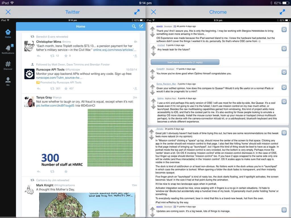 IOS8 iPad SplitScreenMultitask