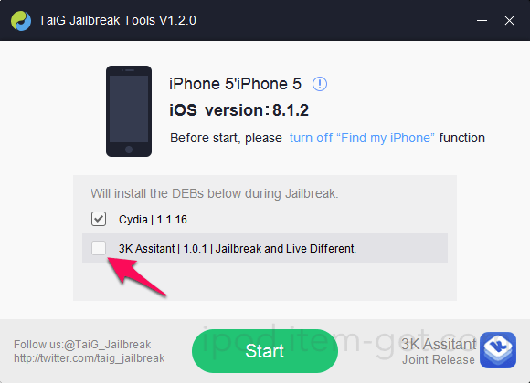 TaiG Jailbreak iOS8 1 2 05
